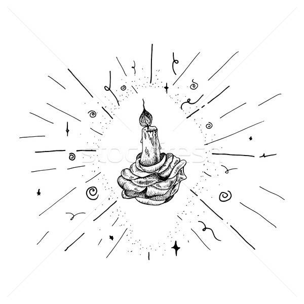 キャンドル バラ ヴィンテージ 手描き 燃焼 ロマンチックな ストックフォト © barsrsind