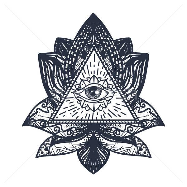ストックフォト: 眼 · 蓮 · 入れ墨 · ヴィンテージ · 曼陀羅
