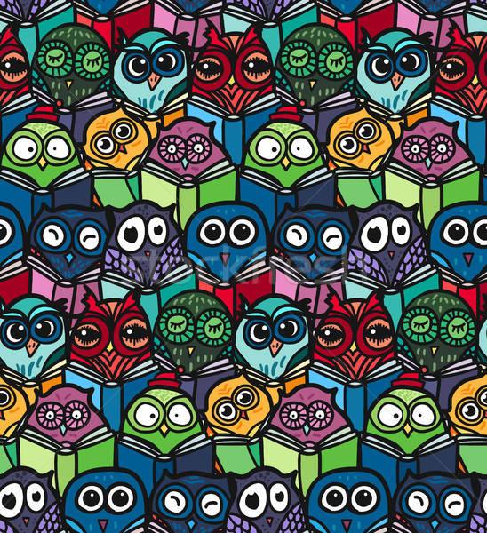 フクロウ 手描き パターン 面白い フクロウ 図書 ストックフォト © barsrsind