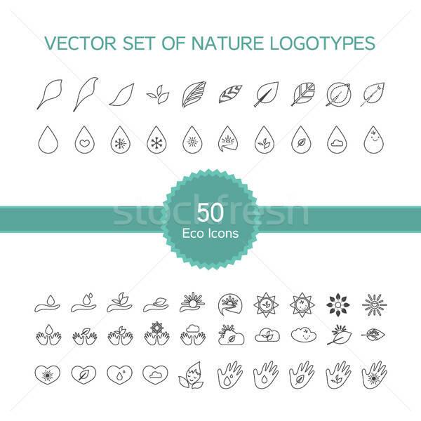 Vektör ayarlamak 50 ekoloji simgeler doğa Stok fotoğraf © barsrsind