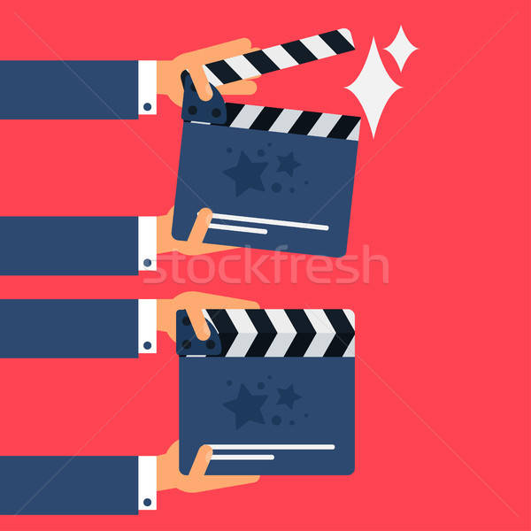 Stock photo: Flat movie clapperboard