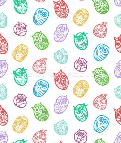 Hiboux dessinés à la main drôle chouette imprimer Photo stock © barsrsind