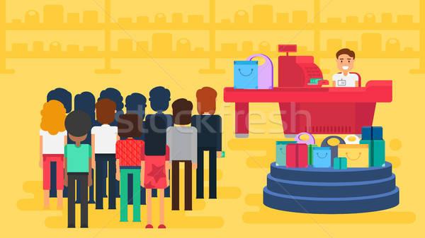Shopping illustrazione store clienti folla cassiere Foto d'archivio © barsrsind