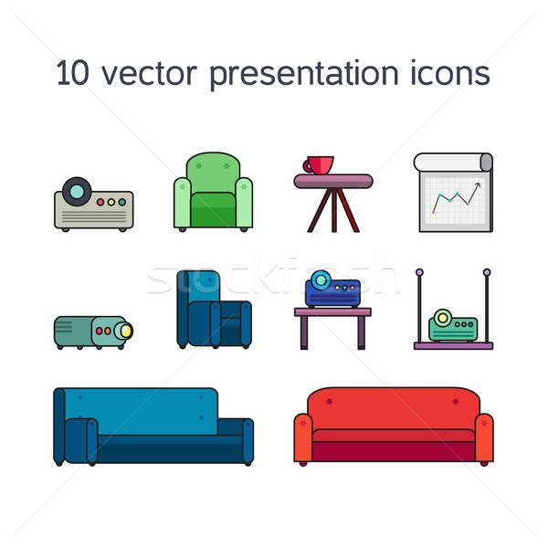 Presentatie iconen projector comfortabel kantoorwerk Stockfoto © barsrsind