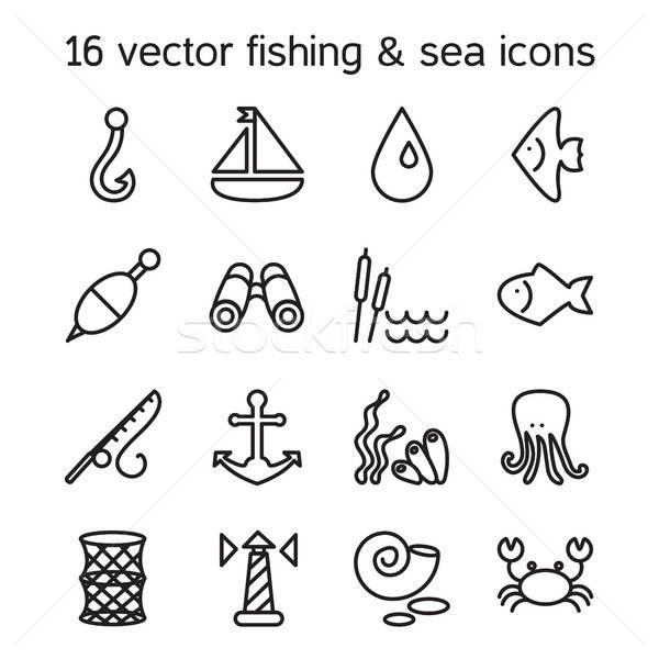 Isolated marine and fishing icons set Stock photo © barsrsind