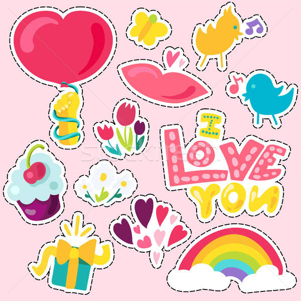 Vector Romantic Love Patch in doodle Stock photo © barsrsind