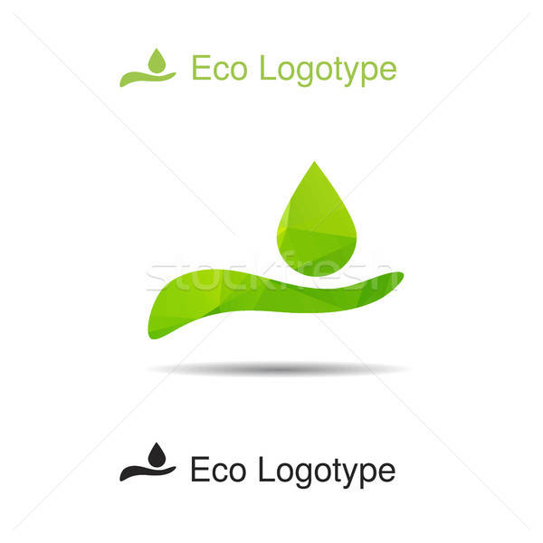Ecology logotype from hand with drop Stock photo © barsrsind