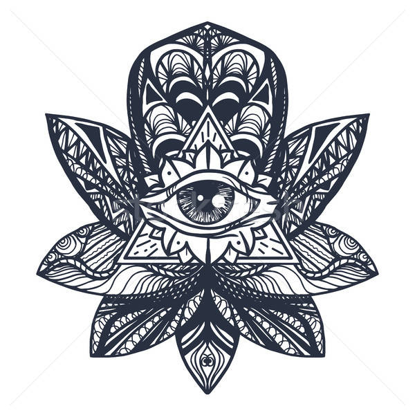 Eye on Lotus Tattoo Stock photo © barsrsind