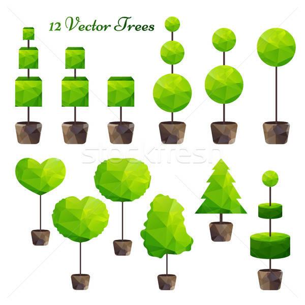 Photo stock: Vecteur · 12 · vert · arbres · faible