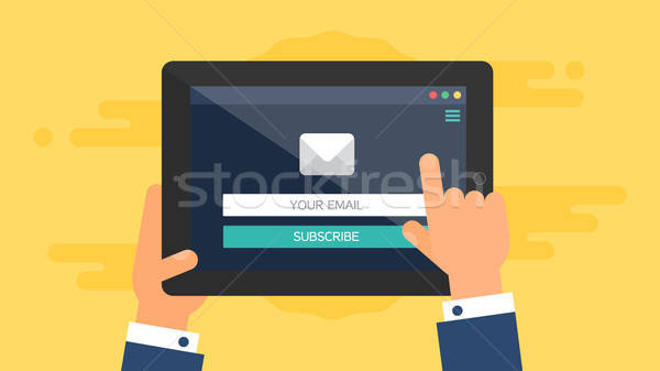 Web Template of Tablet Email Form Stock photo © barsrsind