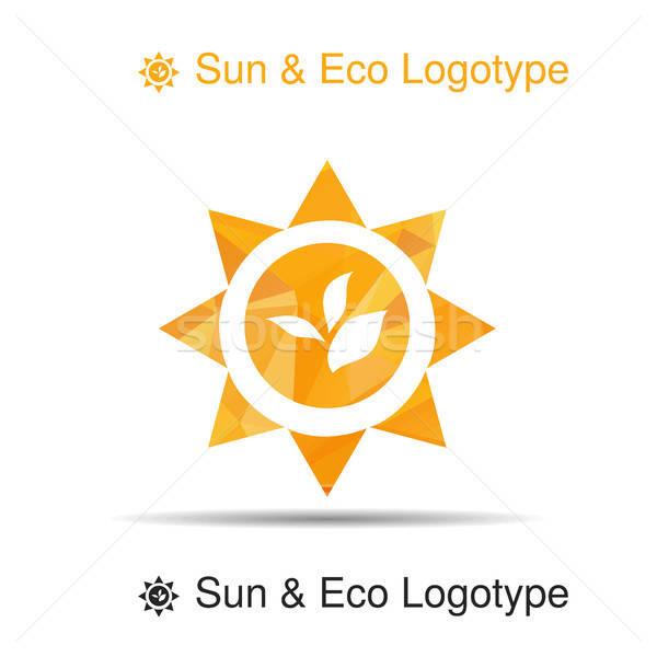 Biyo logo ikon simge yaprakları güneş Stok fotoğraf © barsrsind