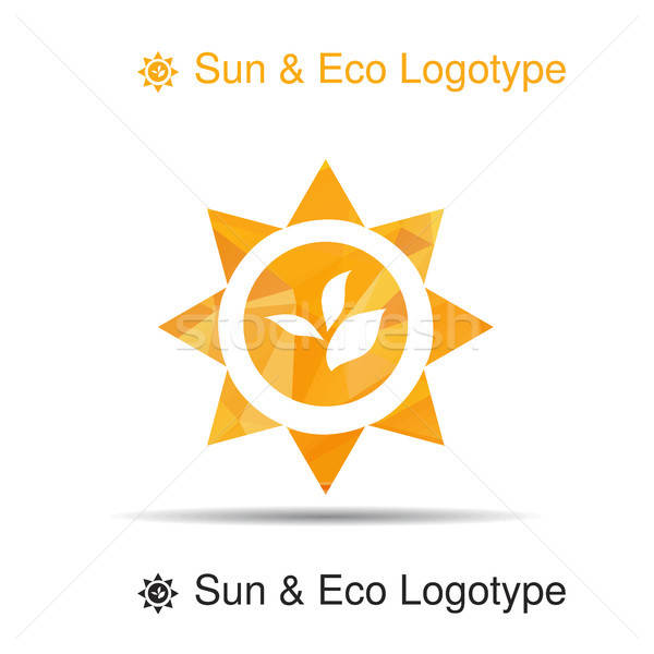 Bio logo icono símbolo hojas sol Foto stock © barsrsind