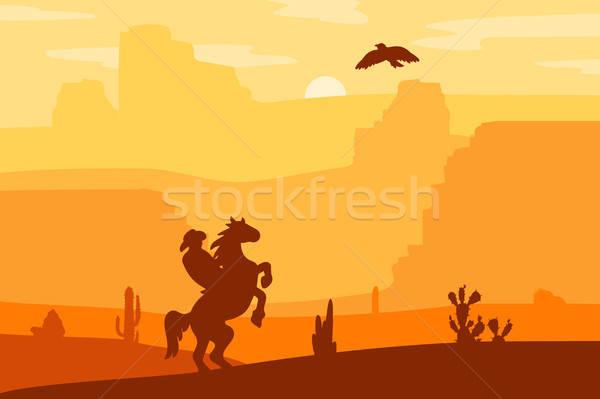 Запад пейзаж ретро герой лошади Сток-фото © barsrsind