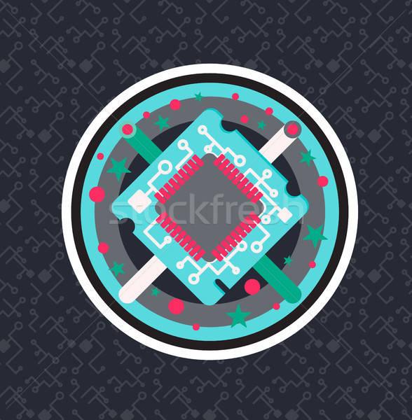 Számítógép processzor chip kábel drót szimbólum Stock fotó © barsrsind