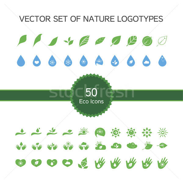 Vector set of 50 ecology icons, nature logo Stock photo © barsrsind