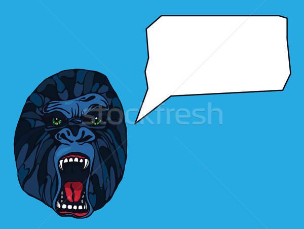 Gorilla tetoválás részletes szöveg buborék terv Stock fotó © barsrsind