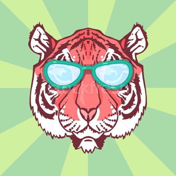 Line arte tigre illustrazione isolato testa Foto d'archivio © barsrsind