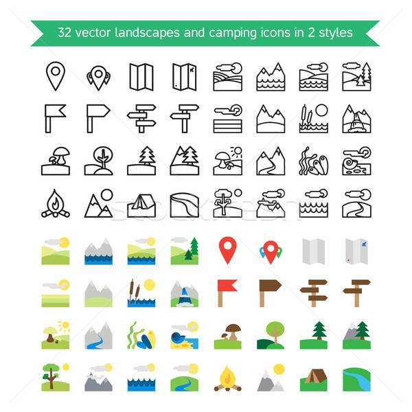 Landscapes and camping icons Stock photo © barsrsind