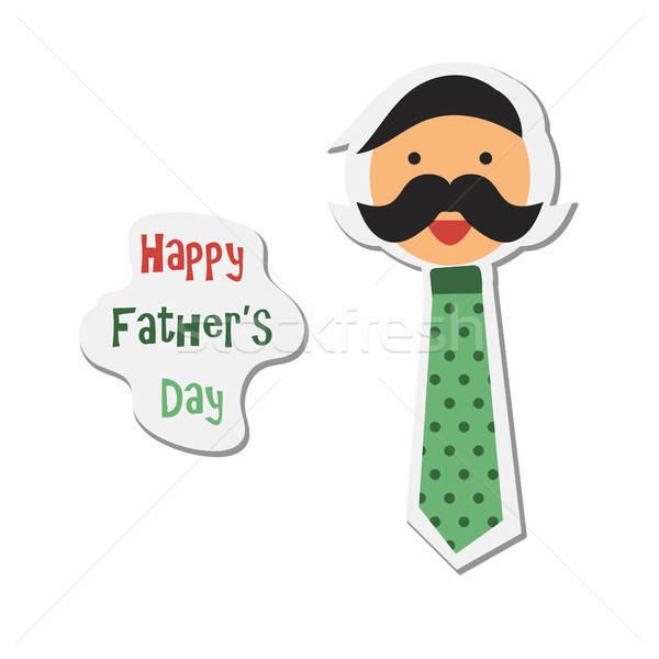 Jour de pères heureux vignette heureux père famille amour Photo stock © barsrsind