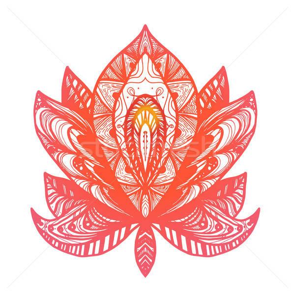 花 蓮 入れ墨 魔法 シンボル 印刷 ストックフォト © barsrsind
