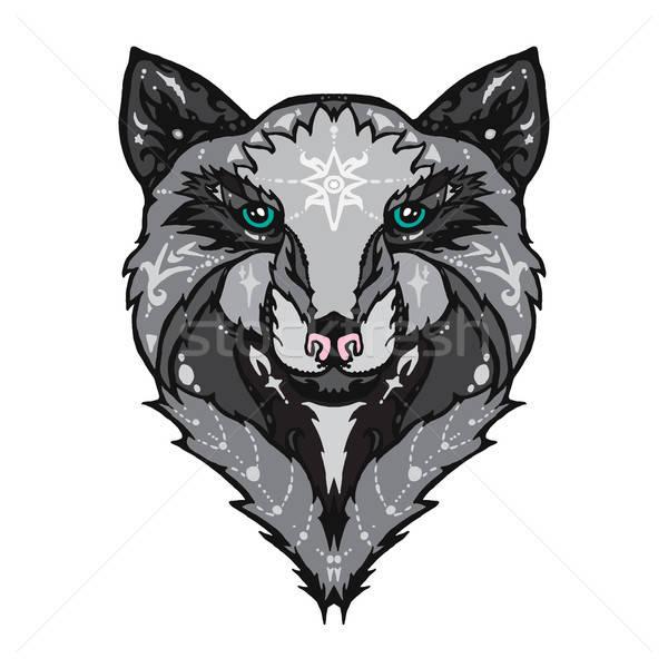 Vad farkas tetoválás illusztráció izolált részletes Stock fotó © barsrsind