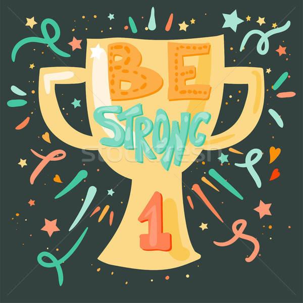 Győzelem erős arany csésze retró stílus alkat Stock fotó © barsrsind