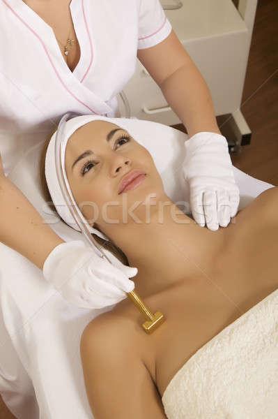 Stockfoto: Jonge · vrouw · laser · therapie · jonge · brunette · vrouw