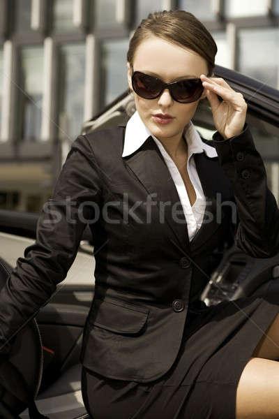 Foto stock: Mujer · de · negocios · atractivo · morena · dinero · nina · sol