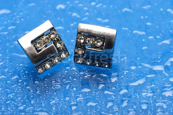 Ezüst fülbevalók pár gyémántok kék vízcseppek Stock fotó © bartekwardziak