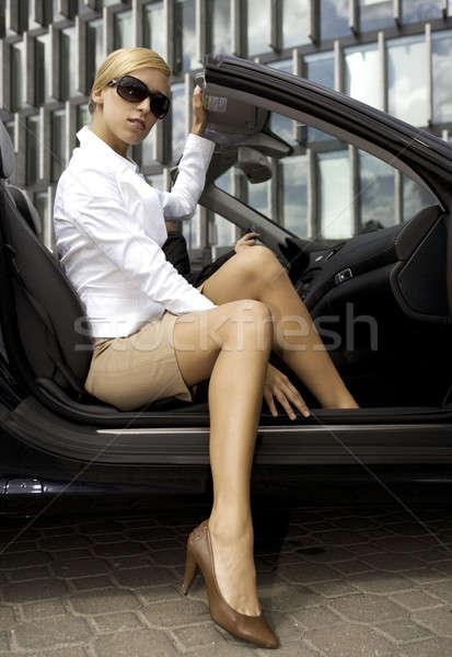 Foto stock: Mujer · de · negocios · coche · hermosa · dinero · nina