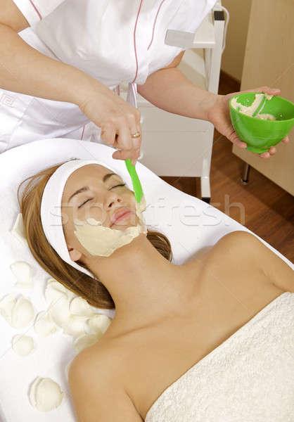 Stockfoto: Jonge · vrouw · schoonheid · huid · masker · behandeling · gezicht