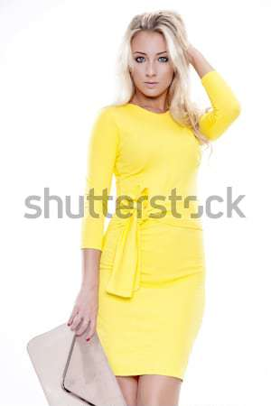 Young slim sexy woman in fashionable dress isolated on white bac Stock photo © bartekwardziak