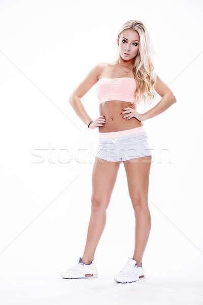 Сток-фото: портрет · молодые · женщину · Постоянный · белый