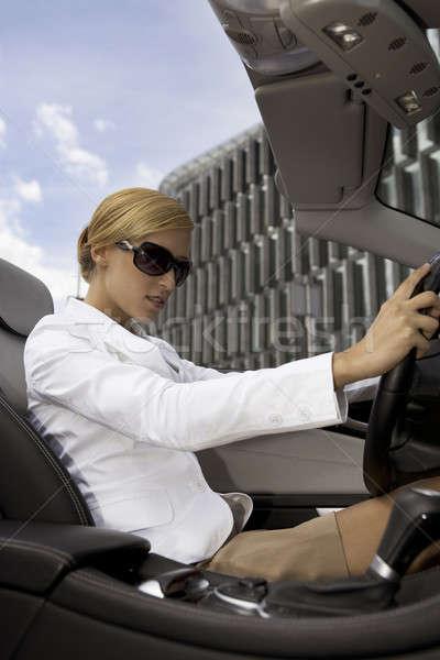 ブロンド 女性実業家 車 美しい お金 少女 ストックフォト © bartekwardziak