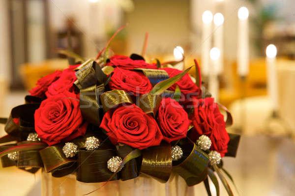 Groß frischen Haufen rote Rosen Liebe Blatt Stock foto © bartekwardziak