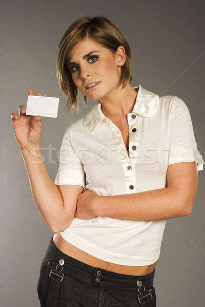 woman with card Stock photo © bartekwardziak
