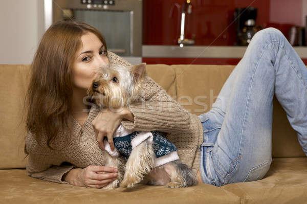 Cute щенков молодые брюнетка девушки Сток-фото © bartekwardziak