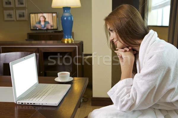 young adult brunette woman starting day Stock photo © bartekwardziak