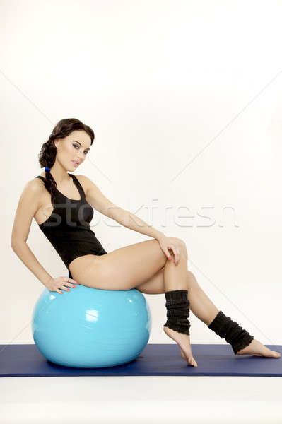 女性 フィットネス ボール 魅力的な 小さな ブルネット ストックフォト © bartekwardziak