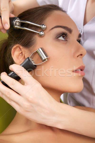 Stockfoto: Vrouw · stimuleren · behandeling · arts · portret · aantrekkelijk