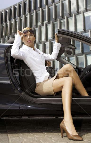 blonde businesswoman in a car Stock photo © bartekwardziak