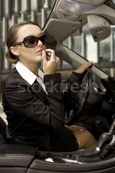 Foto stock: Mujer · de · negocios · atractivo · morena · dinero · nina · coche
