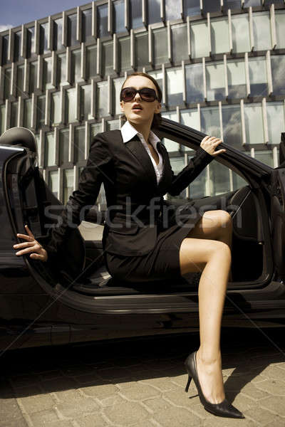 女性実業家 魅力的な ブルネット お金 少女 太陽 ストックフォト © bartekwardziak