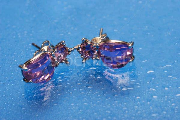 Foto stock: Plata · pendientes · par · púrpura · piedra · azul