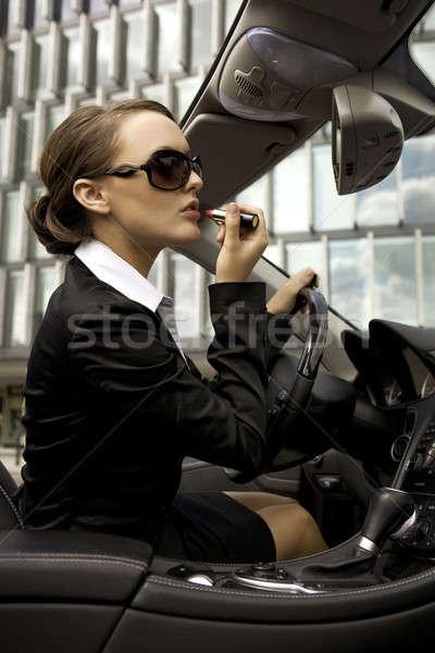 Foto stock: Mujer · de · negocios · atractivo · jóvenes · lápiz · de · labios · dinero · nina