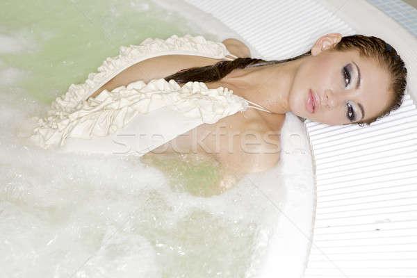 молодые красивая женщина джакузи красивой брюнетка женщину Сток-фото © bartekwardziak