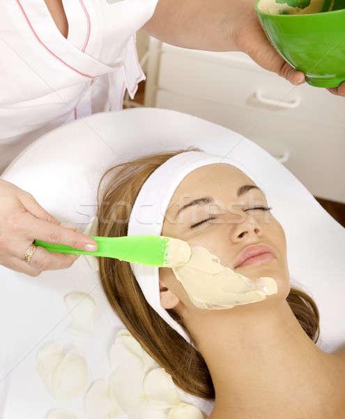 若い女性 美 皮膚 マスク 治療 顔 ストックフォト © bartekwardziak