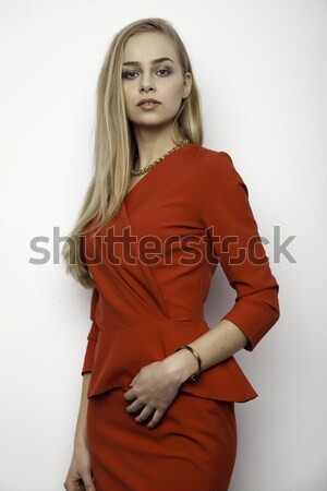 beautiful adult sensuality woman in brown dress Stock photo © bartekwardziak