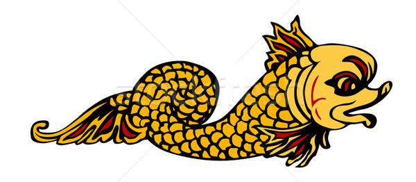 Vetor desenho mitológico peixe fundo arte Foto stock © basel101658