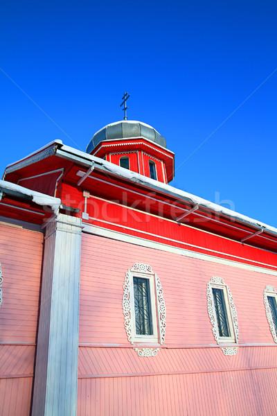 Rural ortodoxo igreja neve porta inverno Foto stock © basel101658